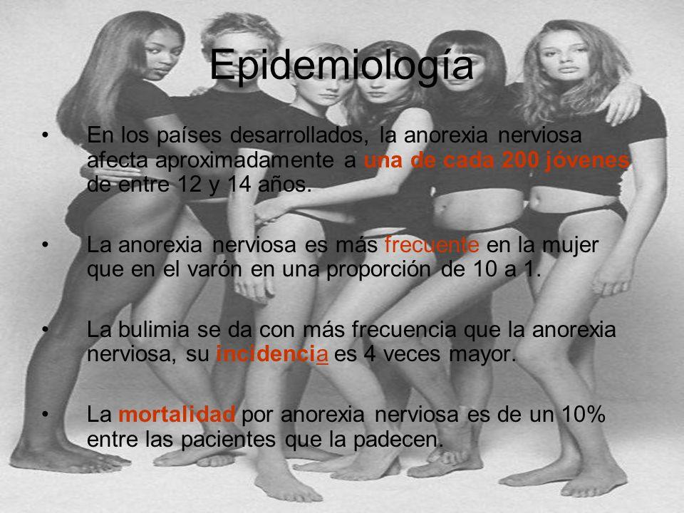 Epidemiología En los países desarrollados, la anorexia nerviosa afecta aproximadamente a una de cada 200 jóvenes de entre 12 y 14 años. La anorexia ne