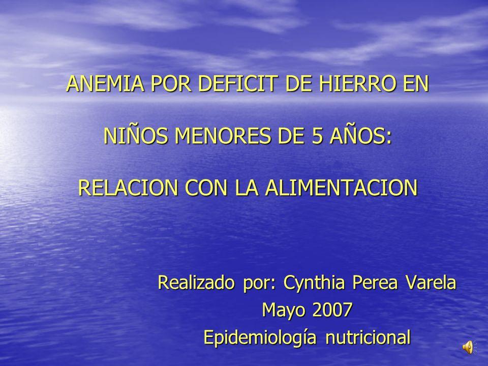ANEMIA POR DEFICIT DE HIERRO EN NIÑOS MENORES DE 5 AÑOS: RELACION CON LA ALIMENTACION Realizado por: Cynthia Perea Varela Mayo 2007 Epidemiología nutricional