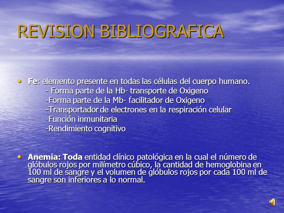 REVISION BIBLIOGRAFICA Fe: elemento presente en todas las células del cuerpo humano.