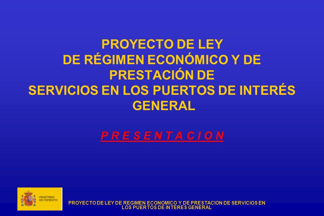 PROYECTO DE LEY DE REGIMEN ECONOMICO Y DE PRESTACION DE SERVICIOS EN LOS PUERTOS DE INTERES GENERAL I N D I C E · NECESIDAD DEL PROYECTO DE LEY · ELEMENTOS CLAVE DE LA LEY · OBJETIVOS · ESTRUCTURA - Titulo I.
