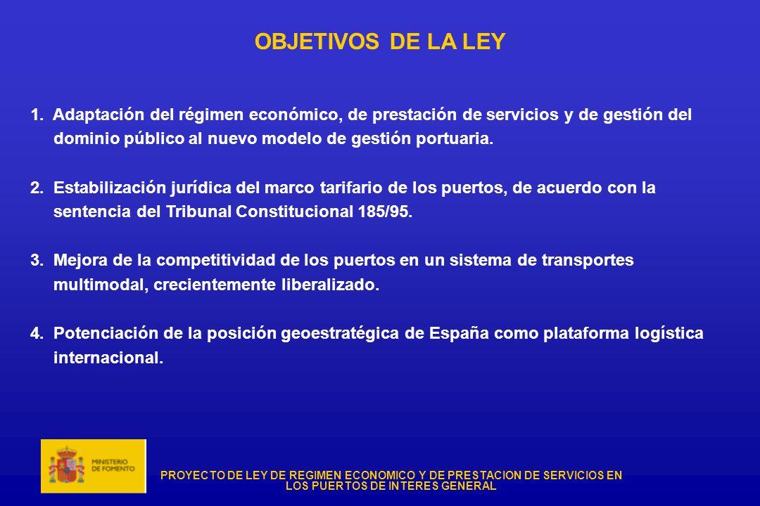 PROYECTO DE LEY DE REGIMEN ECONOMICO Y DE PRESTACION DE SERVICIOS EN LOS PUERTOS DE INTERES GENERAL OBJETIVOS DE LA LEY 1. Adaptación del régimen econ