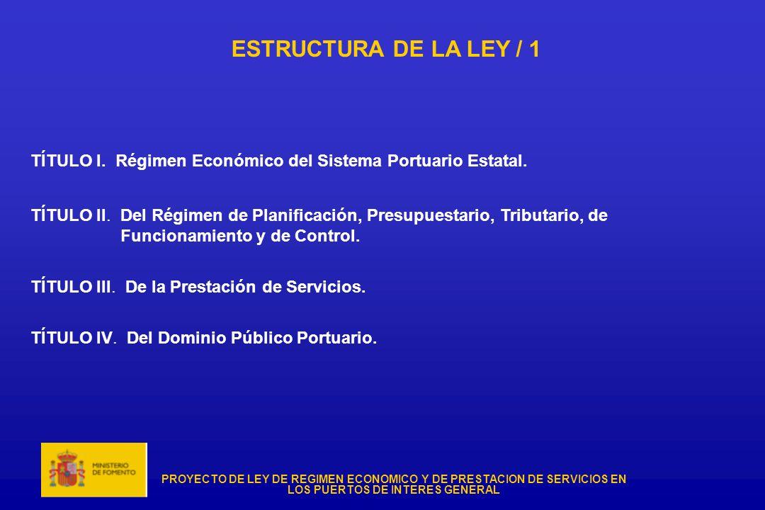 PROYECTO DE LEY DE REGIMEN ECONOMICO Y DE PRESTACION DE SERVICIOS EN LOS PUERTOS DE INTERES GENERAL ESTRUCTURA DE LA LEY / 1 TÍTULO I. Régimen Económi