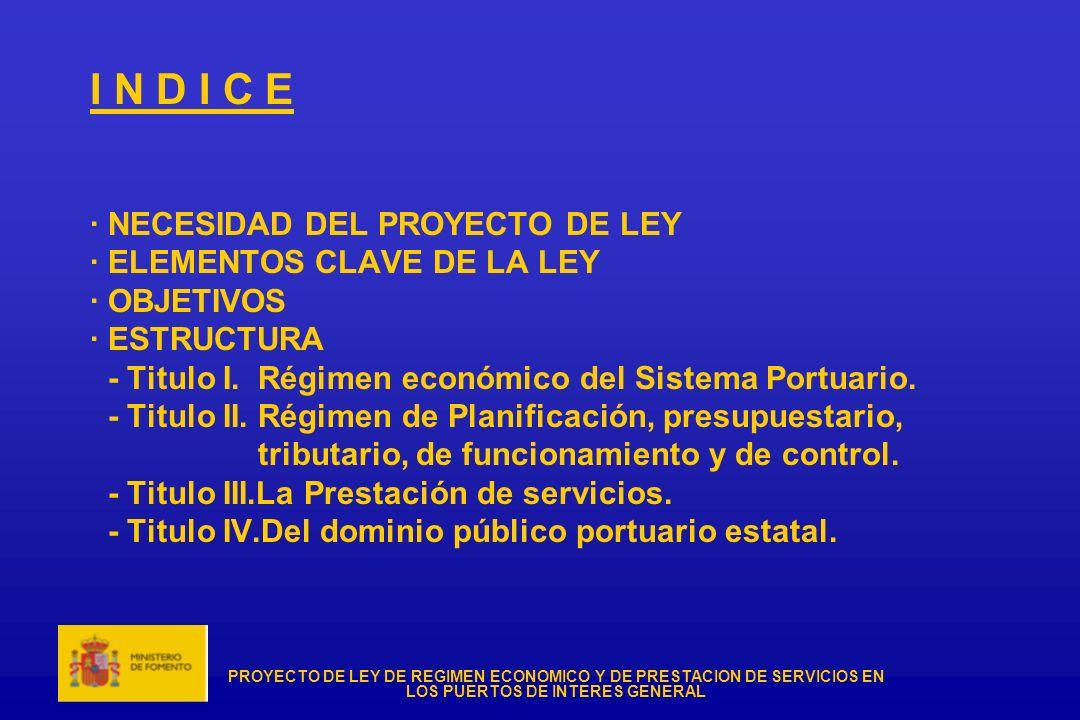 PROYECTO DE LEY DE REGIMEN ECONOMICO Y DE PRESTACION DE SERVICIOS EN LOS PUERTOS DE INTERES GENERAL I N D I C E · NECESIDAD DEL PROYECTO DE LEY · ELEM