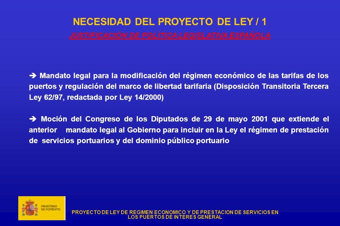 PROYECTO DE LEY DE REGIMEN ECONOMICO Y DE PRESTACION DE SERVICIOS EN LOS PUERTOS DE INTERES GENERAL NECESIDAD DEL PROYECTO DE LEY / 1 JUSTIFICACIÓN DE