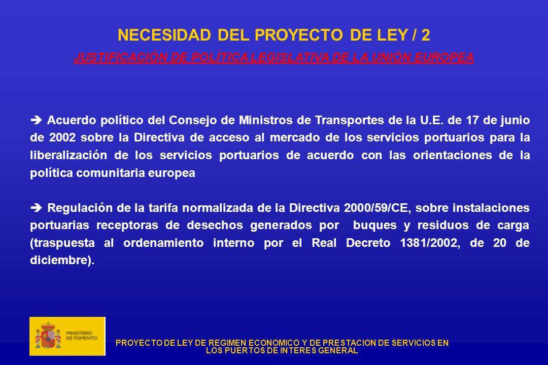 PROYECTO DE LEY DE REGIMEN ECONOMICO Y DE PRESTACION DE SERVICIOS EN LOS PUERTOS DE INTERES GENERAL NECESIDAD DEL PROYECTO DE LEY / 2 JUSTIFICACIÓN DE