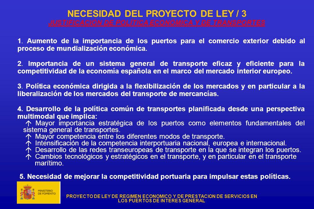 PROYECTO DE LEY DE REGIMEN ECONOMICO Y DE PRESTACION DE SERVICIOS EN LOS PUERTOS DE INTERES GENERAL NECESIDAD DEL PROYECTO DE LEY / 3 JUSTIFICACIÓN DE