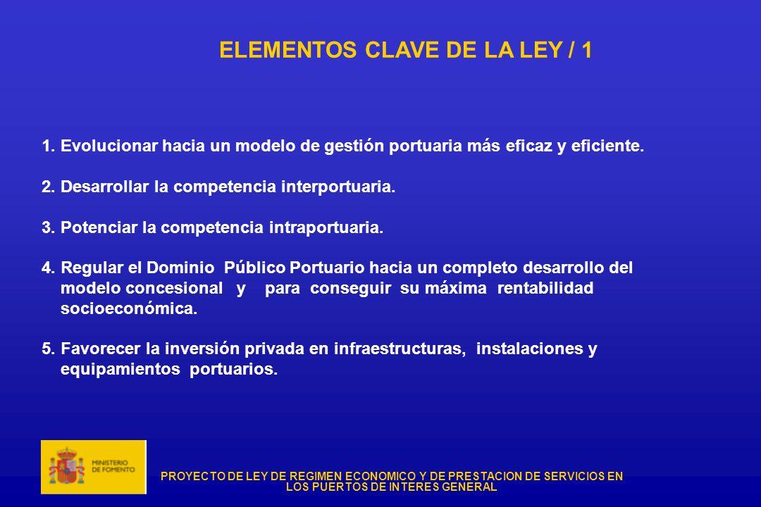 PROYECTO DE LEY DE REGIMEN ECONOMICO Y DE PRESTACION DE SERVICIOS EN LOS PUERTOS DE INTERES GENERAL ELEMENTOS CLAVE DE LA LEY / 1 1. Evolucionar hacia
