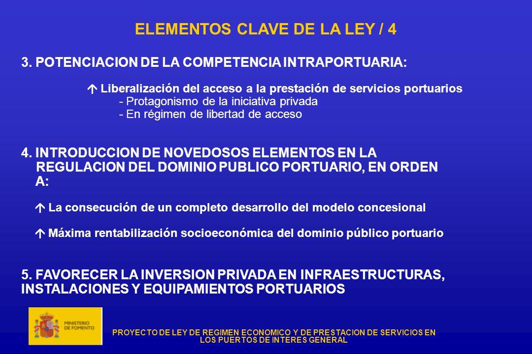 PROYECTO DE LEY DE REGIMEN ECONOMICO Y DE PRESTACION DE SERVICIOS EN LOS PUERTOS DE INTERES GENERAL ELEMENTOS CLAVE DE LA LEY / 4 3. POTENCIACION DE L