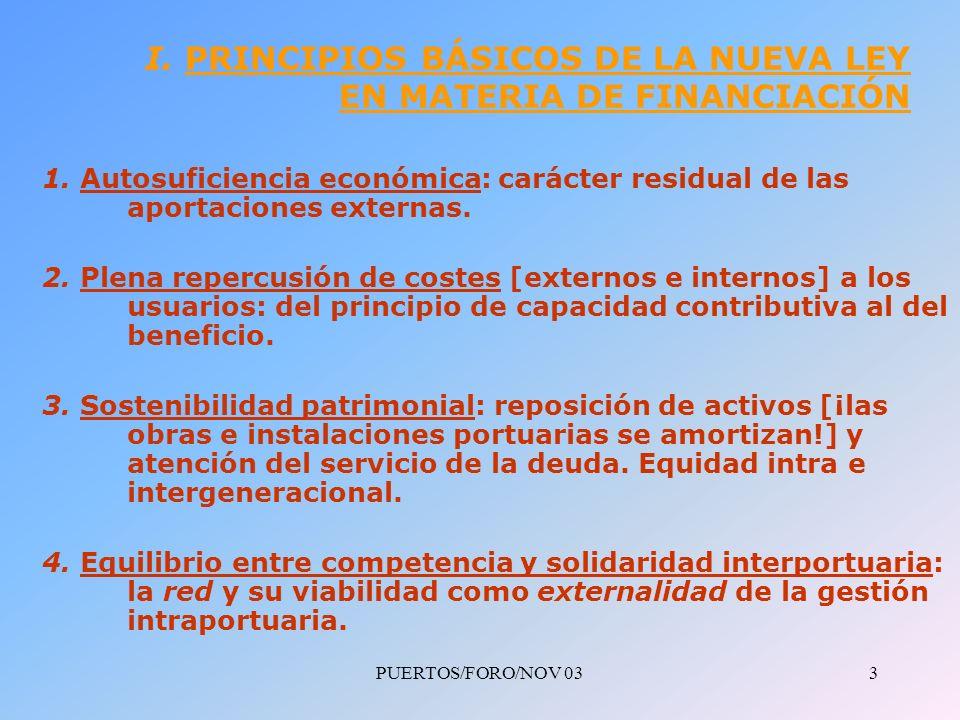 PUERTOS/FORO/NOV 033 I. PRINCIPIOS BÁSICOS DE LA NUEVA LEY EN MATERIA DE FINANCIACIÓN 1.