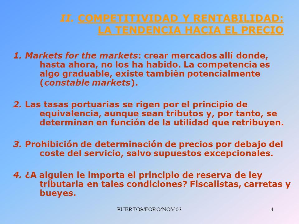 PUERTOS/FORO/NOV 035 II.COMPETITIVIDAD Y RENTABILIDAD: LA TENDENCIA HACIA EL PRECIO (Cont.) 1.