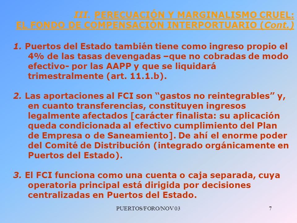 PUERTOS/FORO/NOV 037 III.