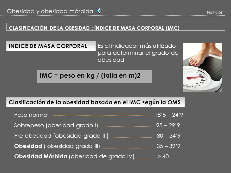 Obesidad y obesidad mórbida Nutrición ESTUDIO DE LA OBESIDAD TIPO DE VALORACIÓNLUGAR o ASPECTO DE ESTUDIO -ANTROPO-BIOLÓGICA - SOCIO-CULTURAL - PSICOL