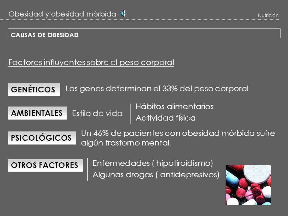 Obesidad y obesidad mórbida Nutrición CLASIFICACIÓN DE LA OBESIDAD : ÍNDICE DE MASA CORPORAL (IMC) IMC = peso en kg / (talla en m)2 Es el indicador má