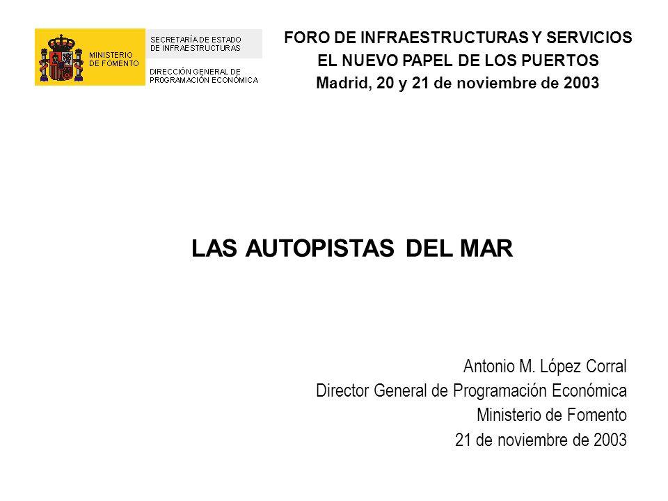 LAS AUTOPISTAS DEL MAR Antonio M. López Corral Director General de Programación Económica Ministerio de Fomento 21 de noviembre de 2003 FORO DE INFRAE