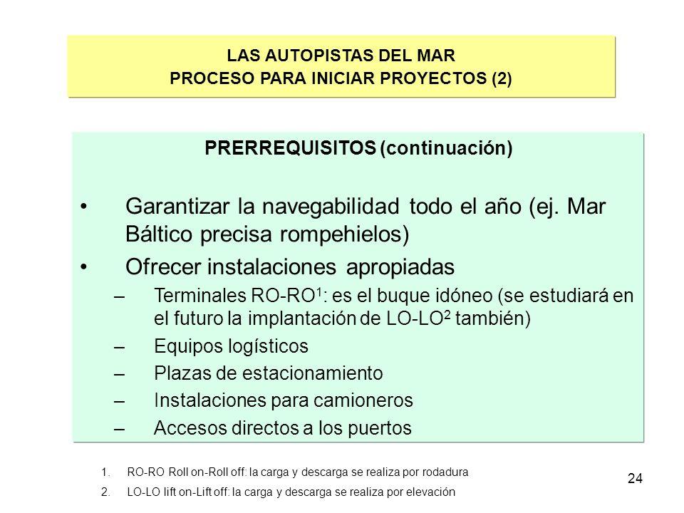 24 LAS AUTOPISTAS DEL MAR PROCESO PARA INICIAR PROYECTOS (2) PRERREQUISITOS (continuación) Garantizar la navegabilidad todo el año (ej. Mar Báltico pr
