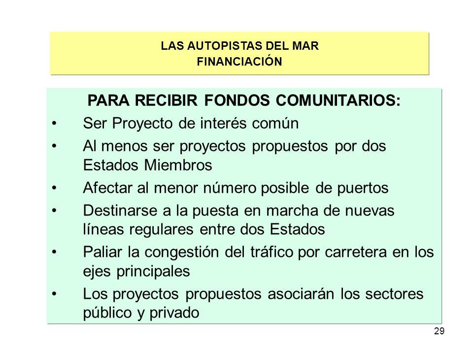 29 LAS AUTOPISTAS DEL MAR FINANCIACIÓN PARA RECIBIR FONDOS COMUNITARIOS: Ser Proyecto de interés común Al menos ser proyectos propuestos por dos Estad