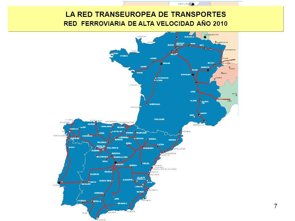 8 LA RED TRANSEUROPEA DE TRANSPORTES LOS PROYECTOS PRIORITARIOS CARACTERÍSTICAS En proyectos transfronterizos: PREVIO ACUERDO entre los países miembros afectados Situados en un EJE TRANSEUROPEO Tienen dimensión Europea Alcanzan el umbral de 500 Millones de Euros Viabilidad económica potencial Compromiso de CONCLUIR LOS PROYECTOS EN EL PLAZO ACORDADO Refuerzan la COHESIÓN LISTAS DE PROYECTOS – GRUPO VAN MIERT COSTE TOTAL ESTIMADO DE LAS INVERSIONES EN LAS REDES TRANSEUROPEAS DETECTADAS POR EL GRUPO VAN MIERT: MÁS DE 600.000 MILLONES DE EUROS