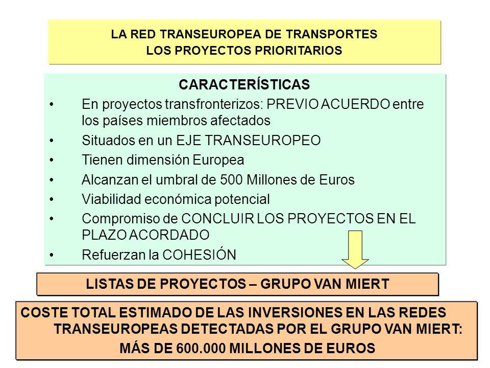 8 LA RED TRANSEUROPEA DE TRANSPORTES LOS PROYECTOS PRIORITARIOS CARACTERÍSTICAS En proyectos transfronterizos: PREVIO ACUERDO entre los países miembro