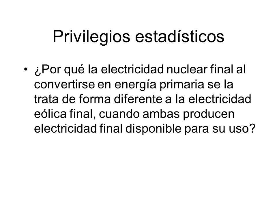 Privilegios estadísticos ¿Por qué la electricidad nuclear final al convertirse en energía primaria se la trata de forma diferente a la electricidad eólica final, cuando ambas producen electricidad final disponible para su uso