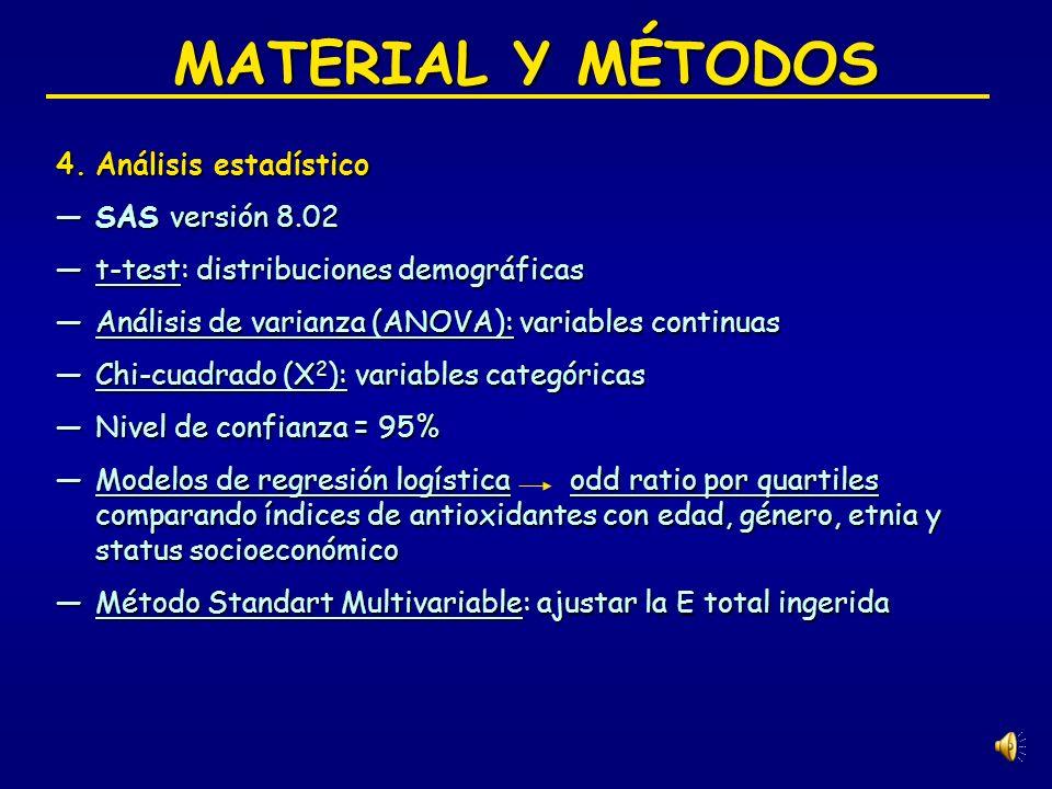 MATERIAL Y MÉTODOS 3.Análisis dietético Datos de cuestionarios (tomas de frecuencia) Datos de cuestionarios (tomas de frecuencia) Gramos alimento por