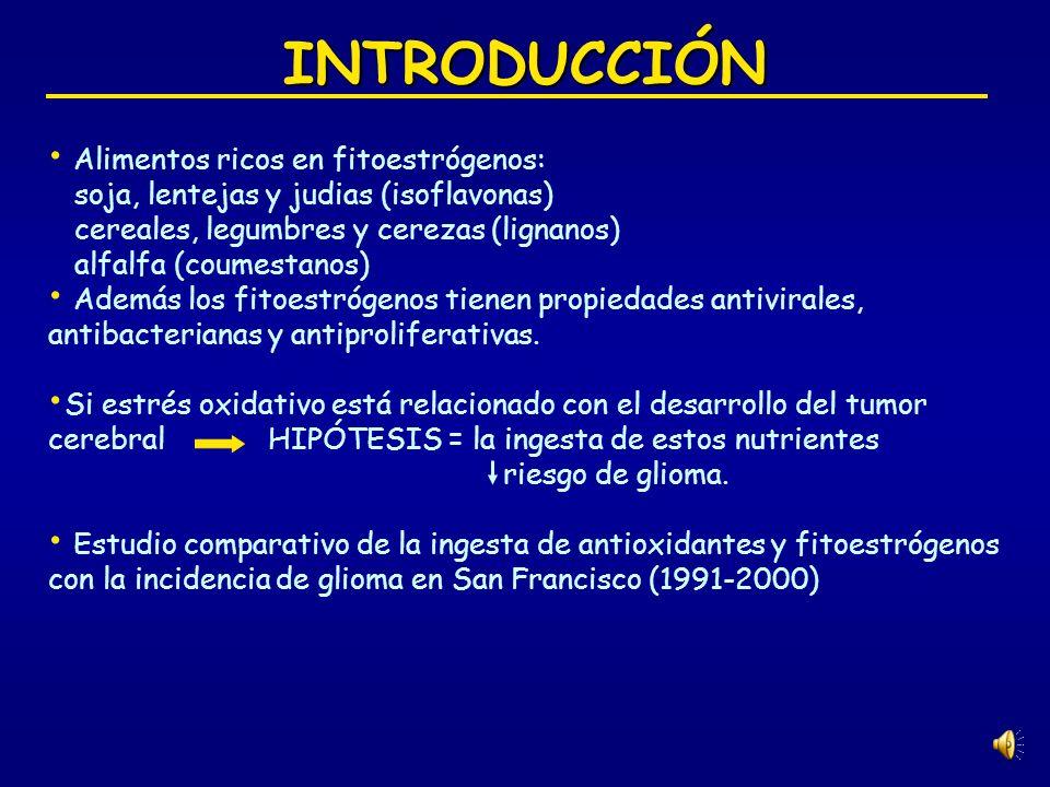 DISCUSIÓN Fitoestrógenos: Relación inversa sugiriendo un efecto protector contra glioma.