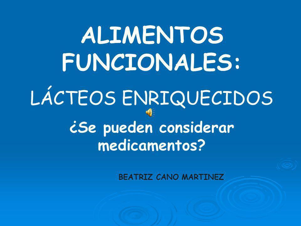 ALIMENTOS FUNCIONALES: LÁCTEOS ENRIQUECIDOS ¿Se pueden considerar medicamentos.