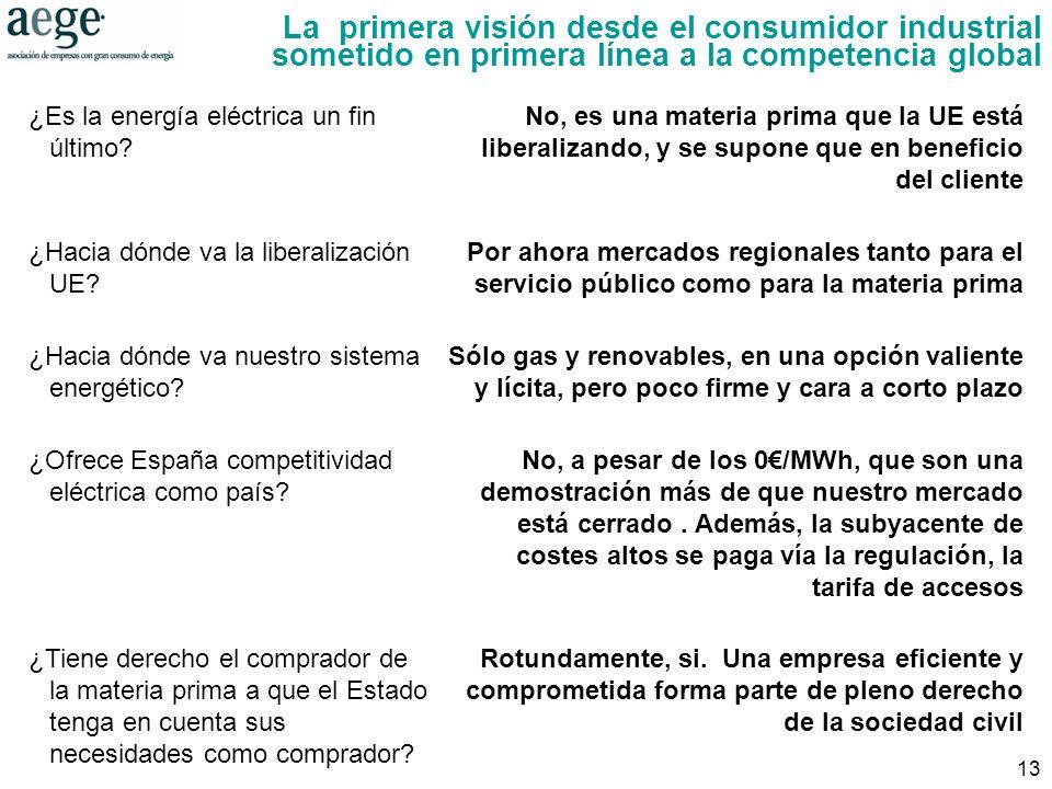13 La primera visión desde el consumidor industrial sometido en primera línea a la competencia global ¿Es la energía eléctrica un fin último.