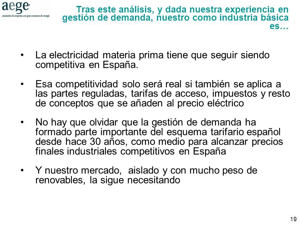 19 La electricidad materia prima tiene que seguir siendo competitiva en España.