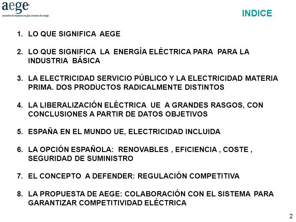 2 1.LO QUE SIGNIFICA AEGE 2.LO QUE SIGNIFICA LA ENERGÍA ELÉCTRICA PARA PARA LA INDUSTRIA BÁSICA 3.LA ELECTRICIDAD SERVICIO PÚBLICO Y LA ELECTRICIDAD MATERIA PRIMA.
