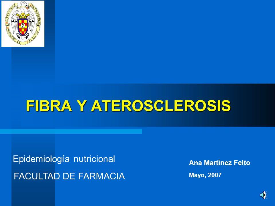 FIBRA Y ATEROSCLEROSIS Epidemiología nutricional Ana Martínez Feito FACULTAD DE FARMACIA Mayo, 2007