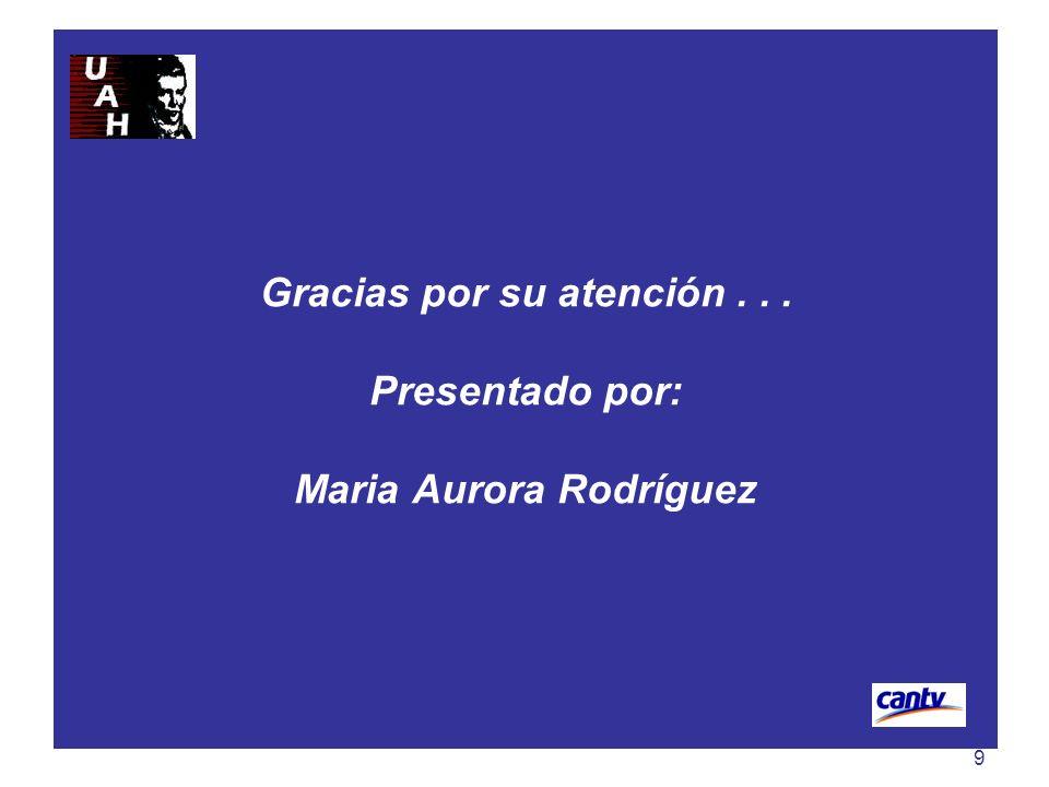 9 Gracias por su atención... Presentado por: Maria Aurora Rodríguez