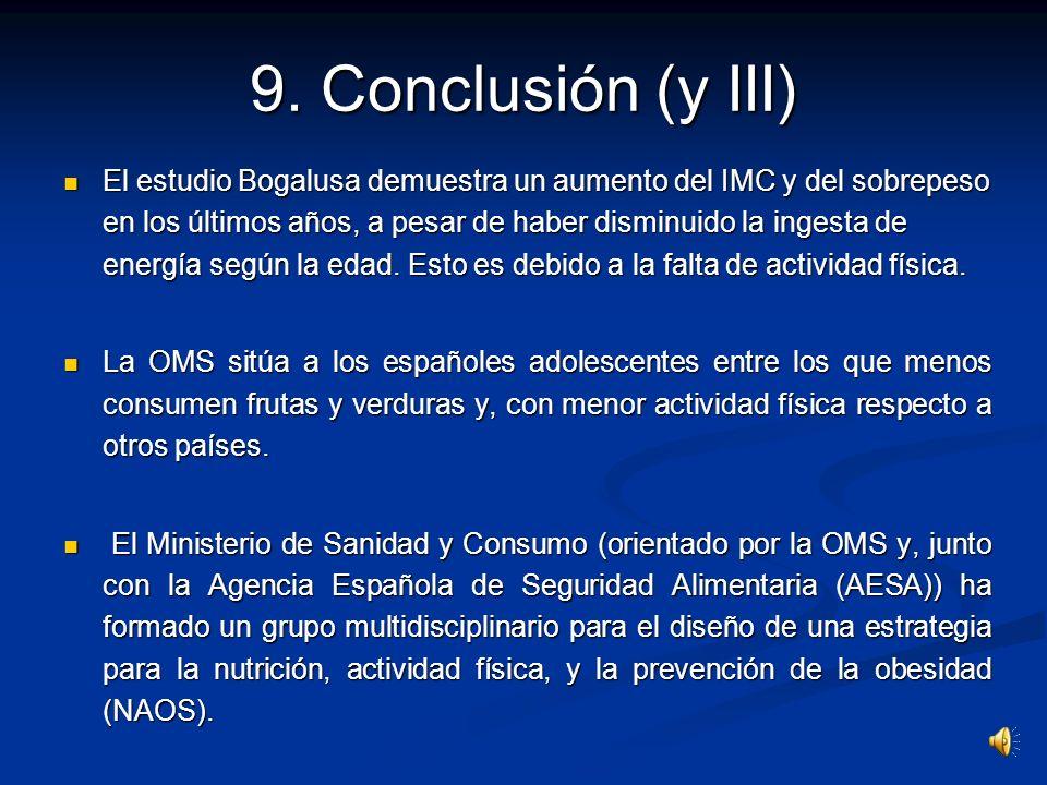 9. Conclusión (II) La prevalencia de la obesidad en España se sitúa en un lugar intermedio entre Europa y Australia. La prevalencia de la obesidad en