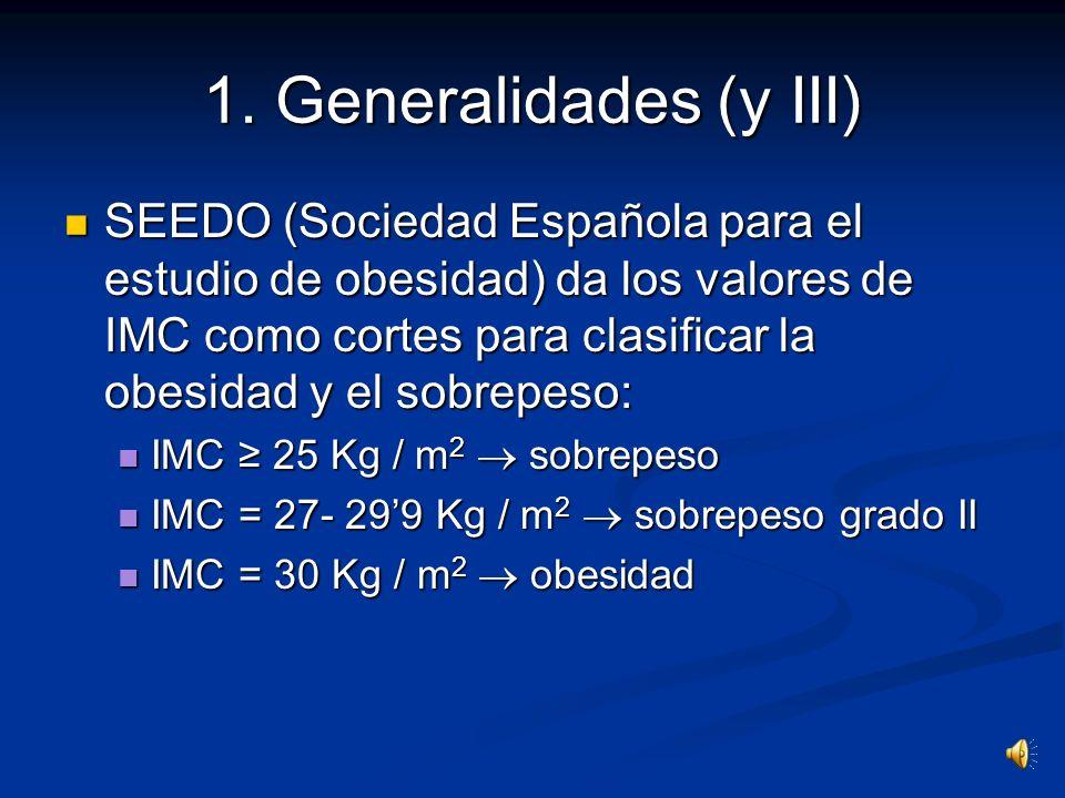 1. Generalidades ( II ) La obesidad causa: La obesidad causa: Gran impacto en la morbi-mortalidad prematura Gran impacto en la morbi-mortalidad premat
