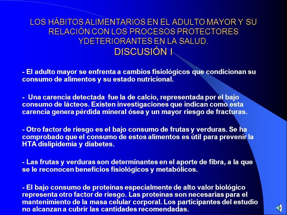 LOS HÁBITOS ALIMENTARIOS EN EL ADULTO MAYOR Y SU RELACIÓN CON LOS PROCESOS PROTECTORES YDETERIORANTES EN LA SALUD. RESULTADOS IV - Se determinó que el