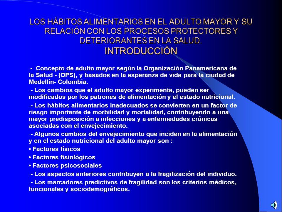 LOS HÁBITOS ALIMENTARIOS EN EL ADULTO MAYOR Y SU RELACIÓN CON LOS PROCESOS PROTECTORES Y DETERIORANTES EN LA SALUD. ÍNDICE - INTRODUCCIÓN - REVISIÓN B