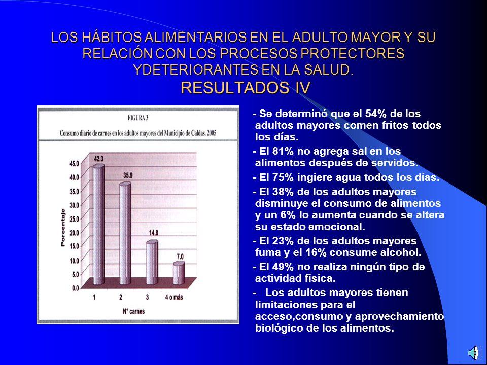 LOS HÁBITOS ALIMENTARIOS EN EL ADULTO MAYOR Y SU RELACIÓN CON LOS PROCESOS PROTECTORES Y DETERIORANTES EN LA SALUD. RESULTADOS III