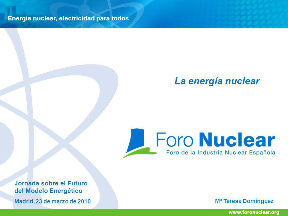 www.foronuclear.org Electricity Generation [TWh] 2010 2030 2050 2070 2090 Constant 20% Renewable Energy Model 1: Nuclear Contribution Returns to traditional 17% by 2030, then constant Conservative Estimate of World Total Electricity Generation IAEA High Estimate Total Electricity Generation [TWh] IAEA Low Estimate Year Nuclear Energy (3 Models) Remaining contributed by Fossil Fuel Energy Model 2: Nuclear Contribution Steadily increases to 30% by 2060, then constant 6 X 10 X Current Capacity 2010 2030 2050 2070 2090 Model 3: Nuclear Contribution Rapidly increases to 50% by 2070, then constant Current Capacity Evolución de la energía nuclear 2 X Current Capacity Contribución de la Energía Nuclear en el mundo en 2030 www.foronuclear.org Pág.