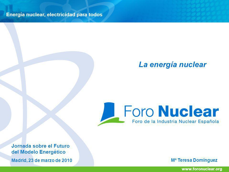 www.foronuclear.org Energía nuclear, electricidad para todos www.foronuclear.org Mª Teresa Domínguez Jornada sobre el Futuro del Modelo Energético Mad