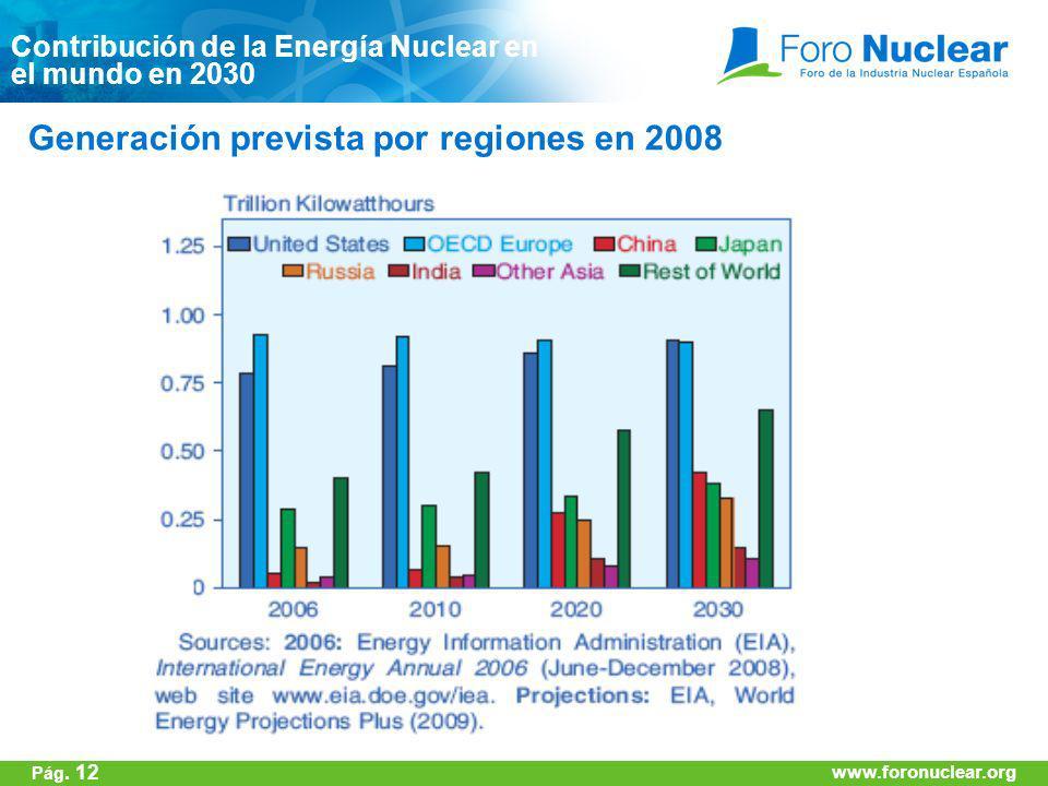 www.foronuclear.org Generación prevista por regiones en 2008 Contribución de la Energía Nuclear en el mundo en 2030 www.foronuclear.org Pág. 12