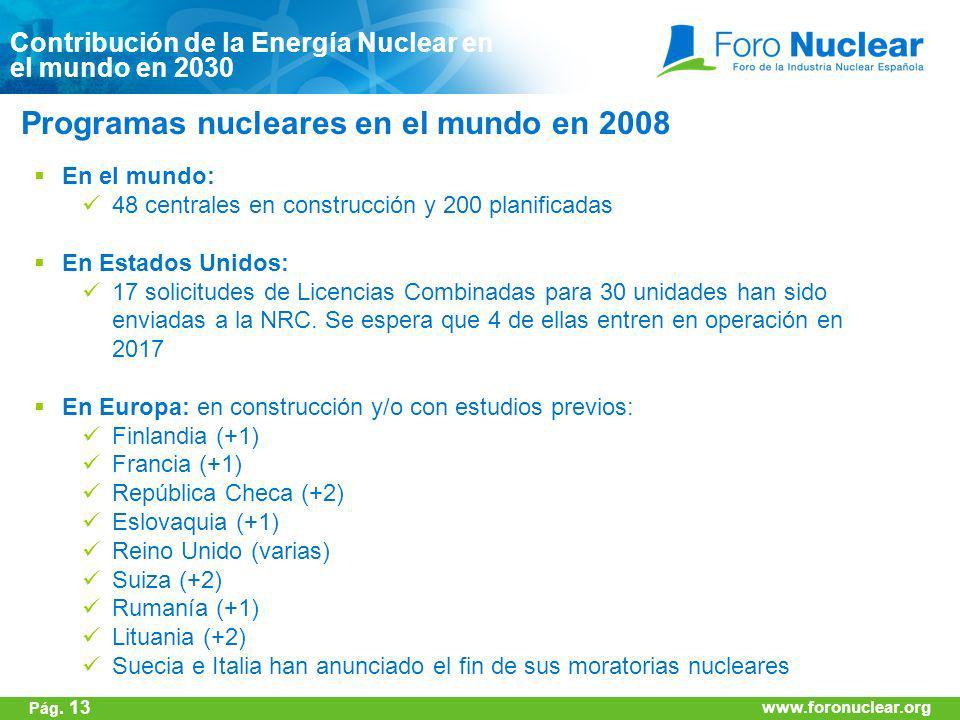 www.foronuclear.org Programas nucleares en el mundo en 2008 Contribución de la Energía Nuclear en el mundo en 2030 www.foronuclear.org Pág. 13 En el m