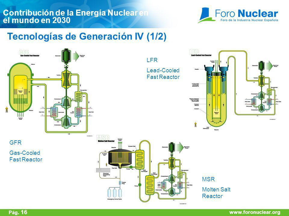 www.foronuclear.org Tecnologías de Generación IV (1/2) Contribución de la Energía Nuclear en el mundo en 2030 GFR Gas-Cooled Fast Reactor LFR Lead-Coo