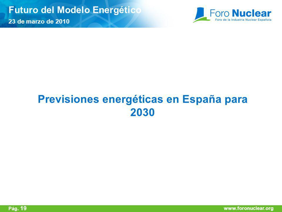 www.foronuclear.org Previsiones energéticas en España para 2030 Futuro del Modelo Energético 23 de marzo de 2010 www.foronuclear.org Pág. 19