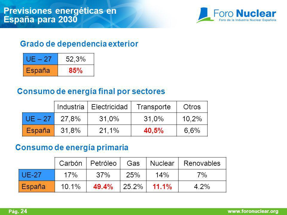 www.foronuclear.org IndustriaElectricidadTransporteOtros UE – 2727,8%31,0% 10,2% España31,8%21,1%40,5%6,6% UE – 2752,3% España85% Grado de dependencia