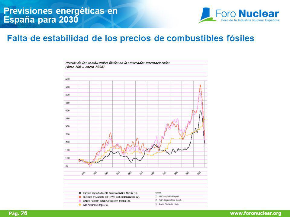 www.foronuclear.org Falta de estabilidad de los precios de combustibles fósiles Previsiones energéticas en España para 2030 www.foronuclear.org Pág. 2