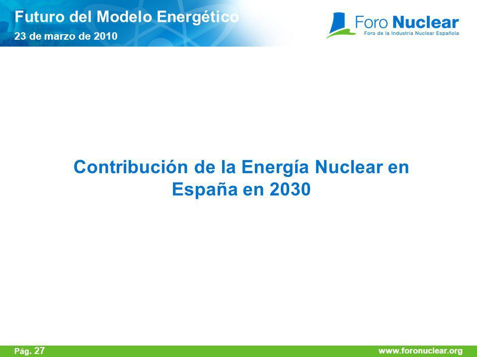 www.foronuclear.org Contribución de la Energía Nuclear en España en 2030 Futuro del Modelo Energético 23 de marzo de 2010 www.foronuclear.org Pág. 27