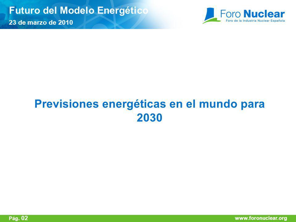www.foronuclear.org Previsiones energéticas en el mundo para 2030 Futuro del Modelo Energético 23 de marzo de 2010 www.foronuclear.org Pág. 02