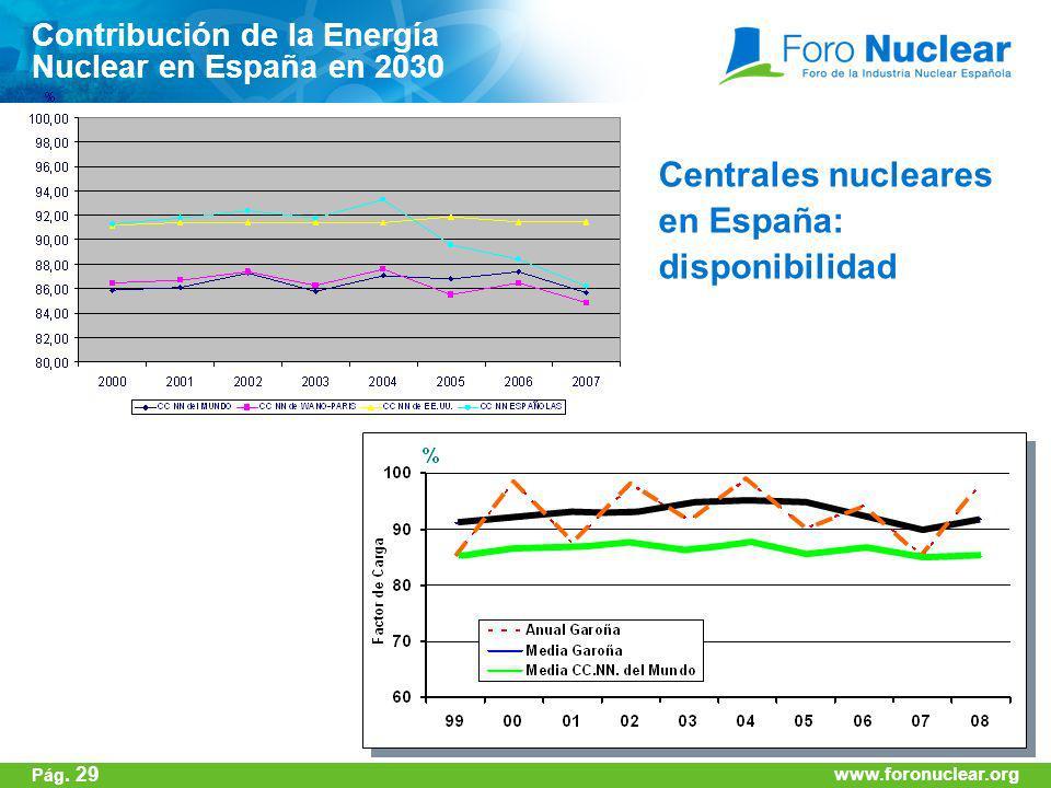 www.foronuclear.org Centrales nucleares en España: disponibilidad Contribución de la Energía Nuclear en España en 2030 www.foronuclear.org Pág. 29