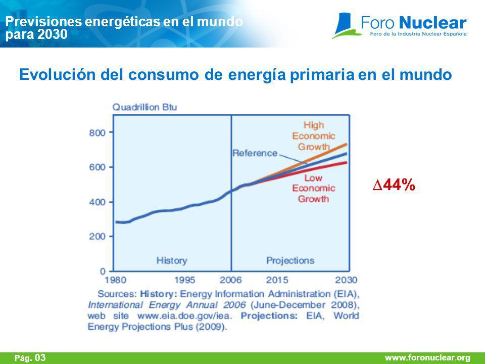 www.foronuclear.org Previsiones energéticas en el mundo para 2030 Evolución del consumo de energía primaria en el mundo 44% www.foronuclear.org Pág. 0