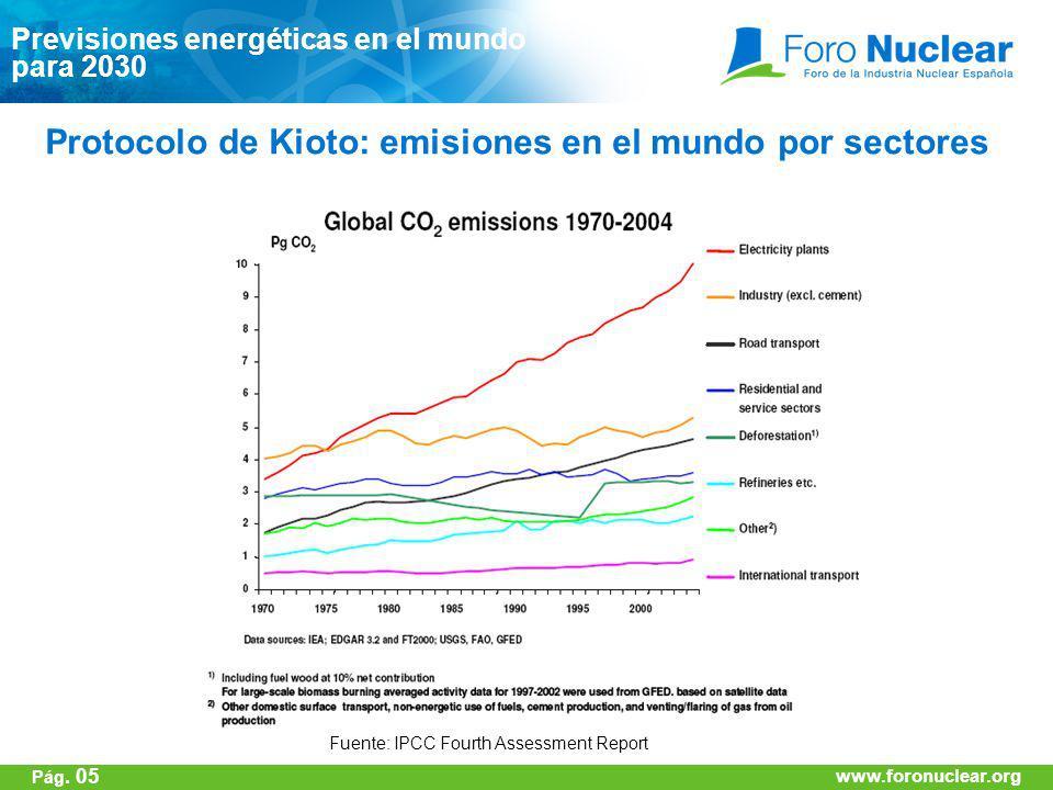 www.foronuclear.org Fuente: IPCC Fourth Assessment Report Protocolo de Kioto: emisiones en el mundo por sectores Previsiones energéticas en el mundo p