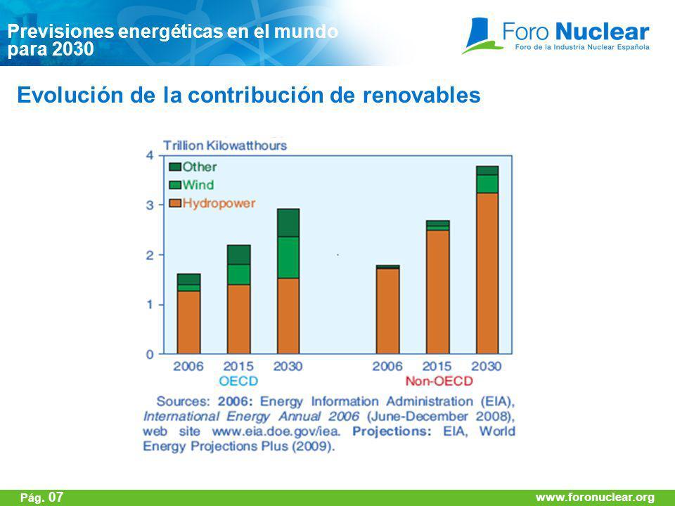 www.foronuclear.org Previsiones energéticas en el mundo para 2030 Evolución de la contribución de renovables www.foronuclear.org Pág. 07